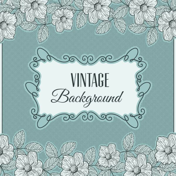 Vintage flowers with frame and typography vector