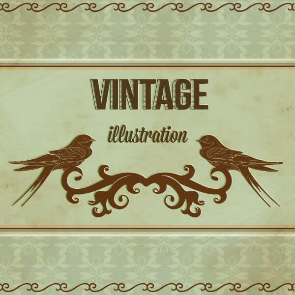 Vintage illustrations with ormanent and swallow vector