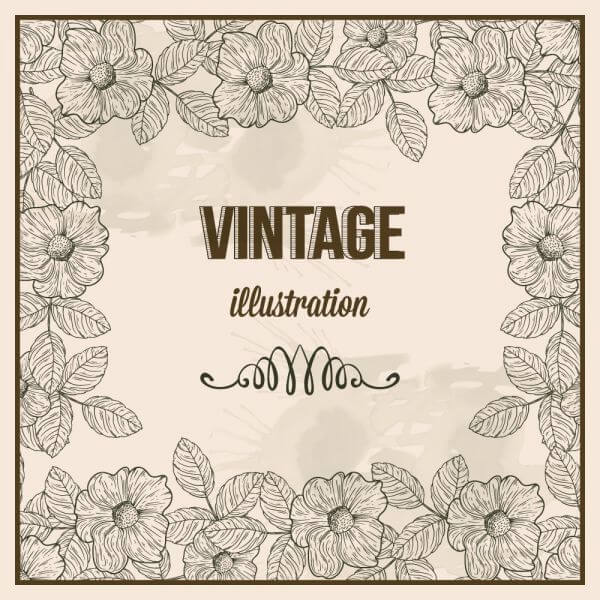 Vintage frame with typography vector