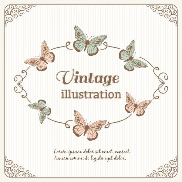 Vintage frame with butterflies and typography vector