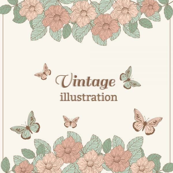 Vintage flower illustration with butterfly vector