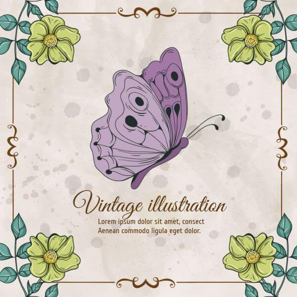 Vintage frame with flowers and butterfly vector