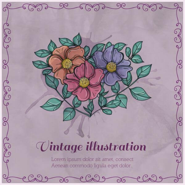 Vintage bouquet vector