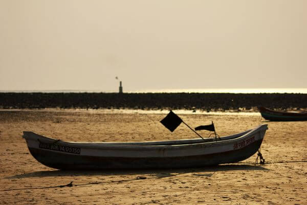 Boat On Beach Low Tide photo