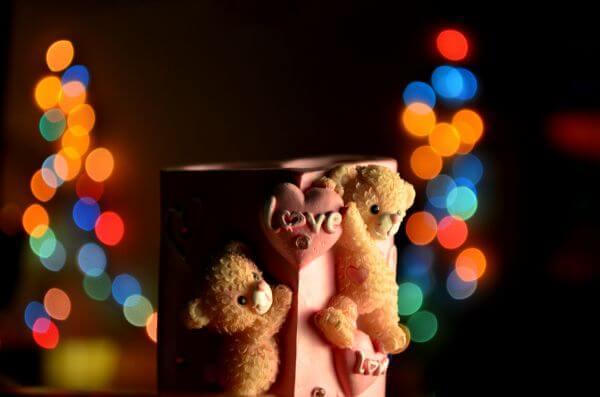 Bokeh Lights Love Teddy photo