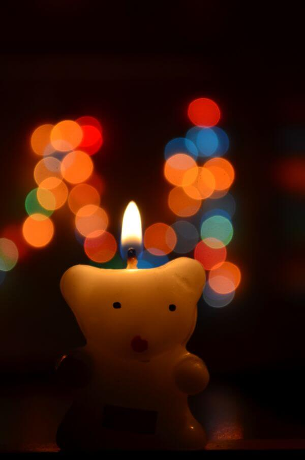Bokeh Teddy Cute Candle photo