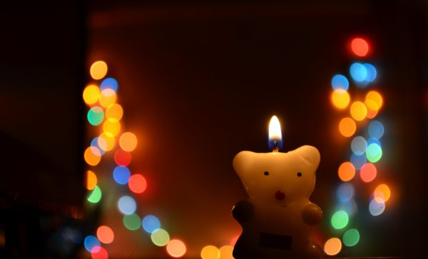 Teddy Candle Bokeh photo