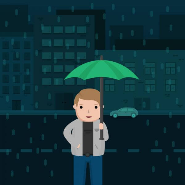 Man in the Rain with Umbrella vector