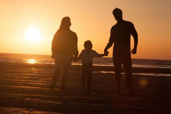 Happy Family Beach Sunset photo