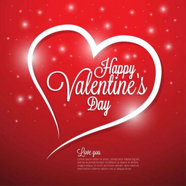Valentines day illustrations and typography elements vector