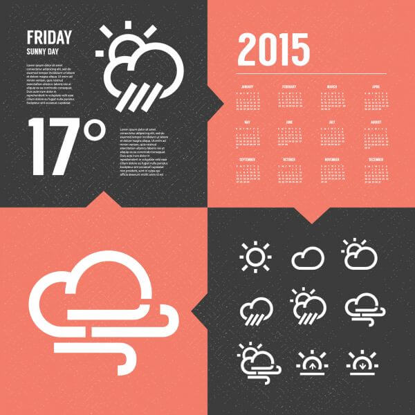 Weather Background with Icon set vector
