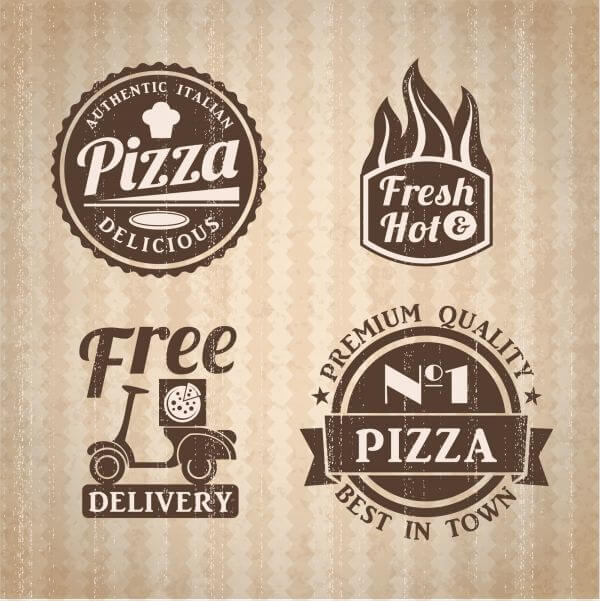Pizza labels collection. vector