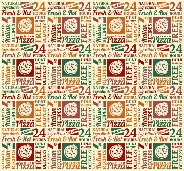 Seamless pattern with pizza lettering vector