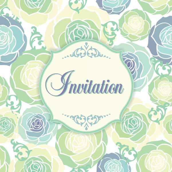 Invitation template with floral background vector