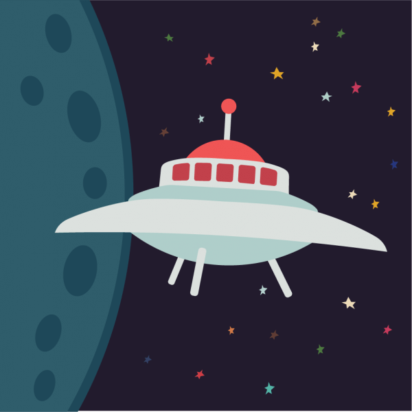 UFO in cartoon style vector