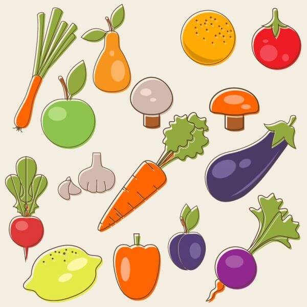 Cartoon fruits vector set vector