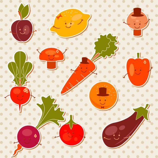 Cartoon fruits vector set vector