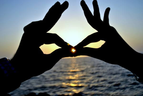 Hands Kissing Sunset Couple photo