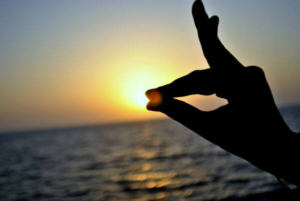 Hands Pose Sunset Sea photo