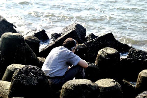 Man Sitting Headphones Music photo