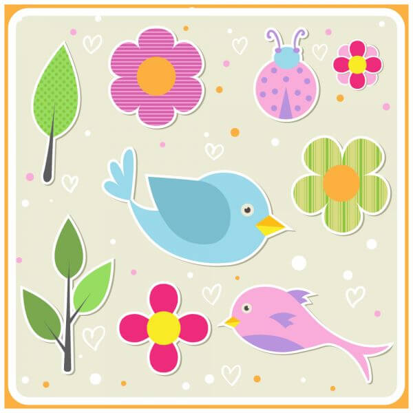 Cute doodle nature elements vector