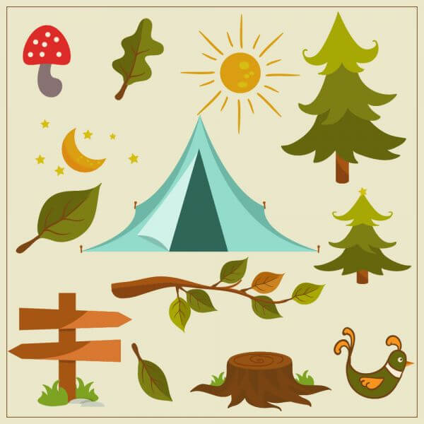 Nature camping vector elements vector