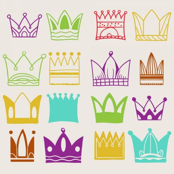 Crown vector set  vector