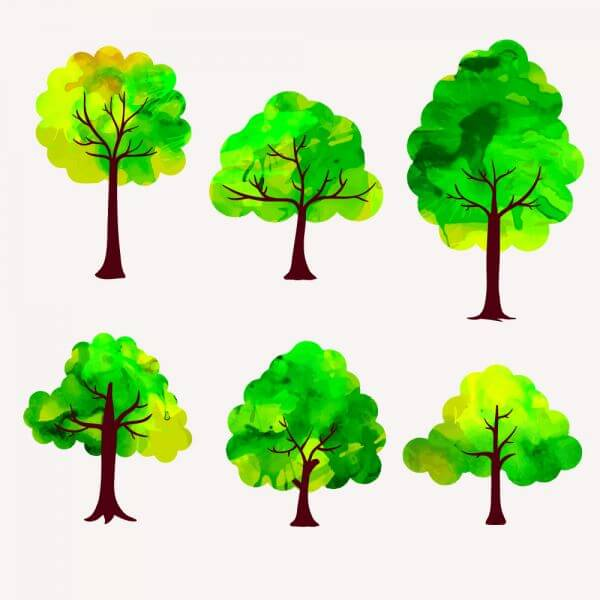 Watercolor trees vector set vector