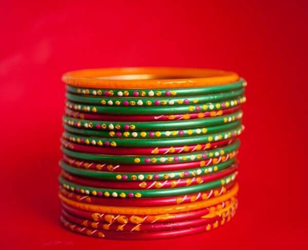 Glass Bangles Red Green photo