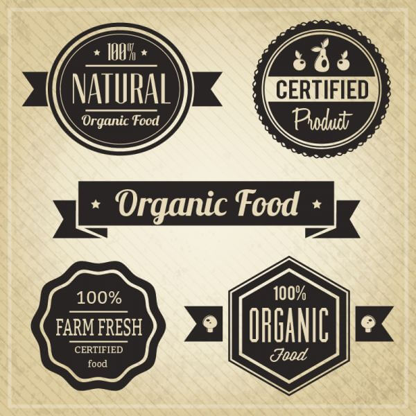 Organic Food, Vintage Labels vector