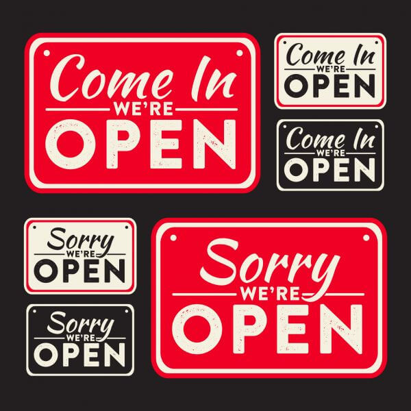 Vector open and closed signs vector