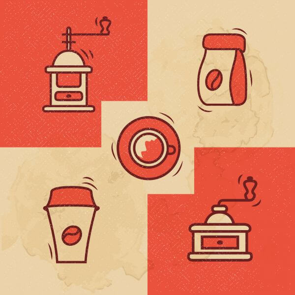 Vintage Coffee icons with Grunge Effect vector