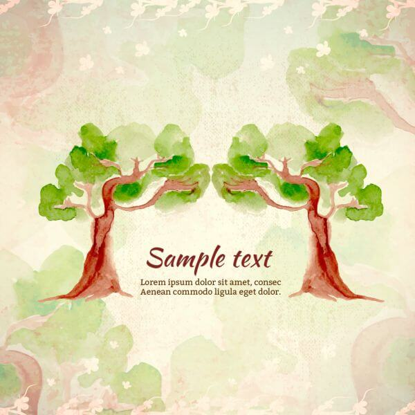 Watercolor illustration with trees vector