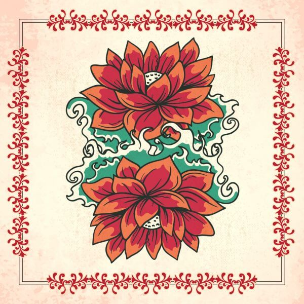 Vintage illustration with flowers and frame vector