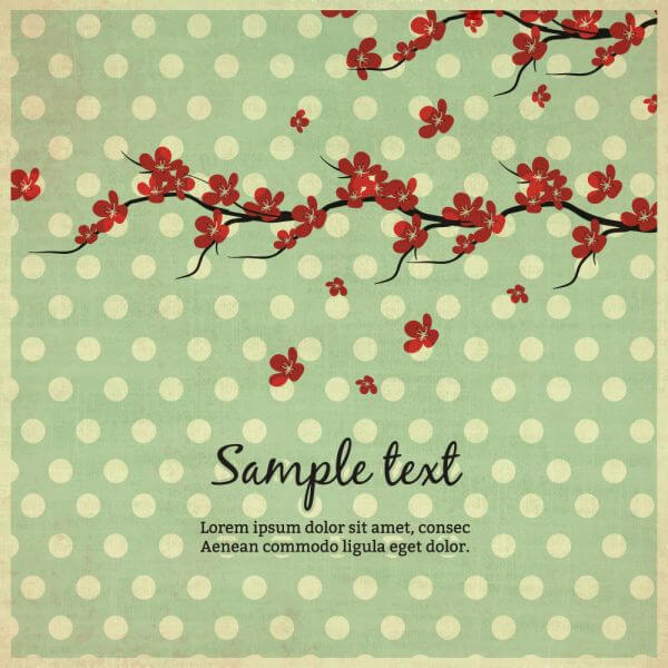 Vintage illustration with flowers vector
