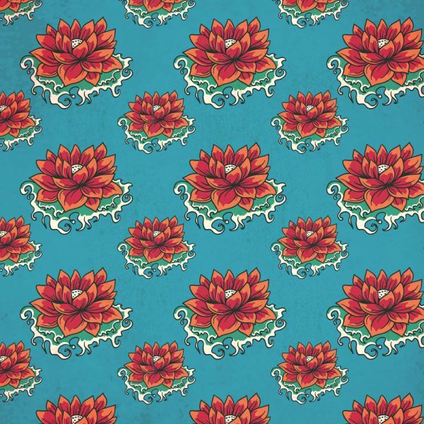 Vintage japanese pattern with flowers vector