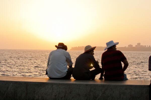 Friends Sitting Hats photo