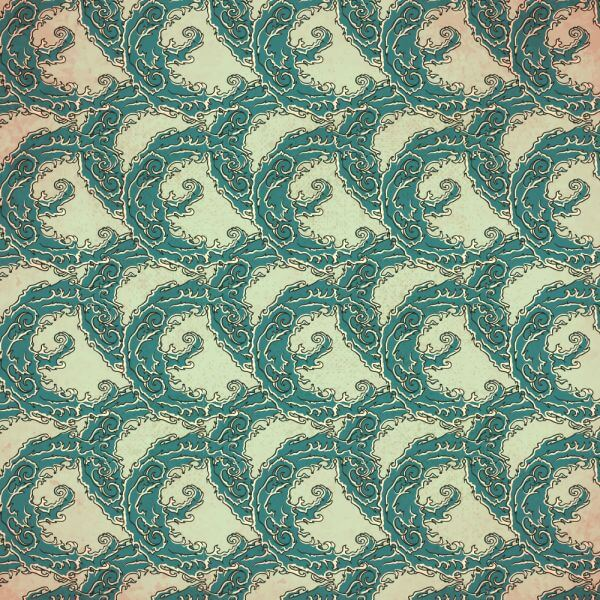 Vintage japanese pattern with waves vector