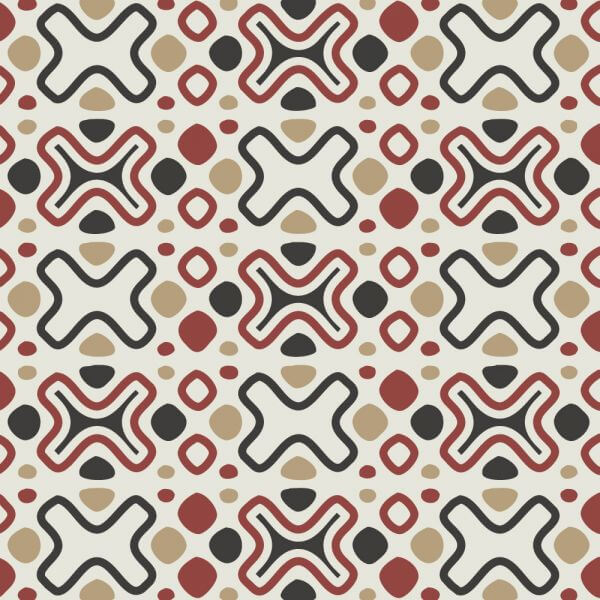 Tribal Red, Blue, and Cream Pattern vector