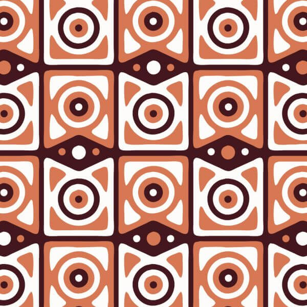 Retro Maroon, Orange, and White Pattern vector