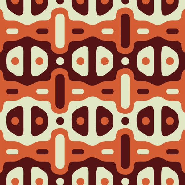 Retro Maroon, Orange, and Cream Pattern vector