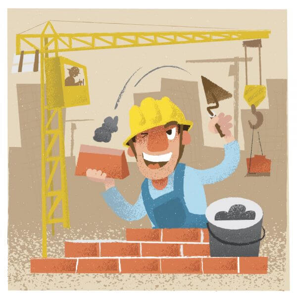 Builder man character. Vector illustration vector