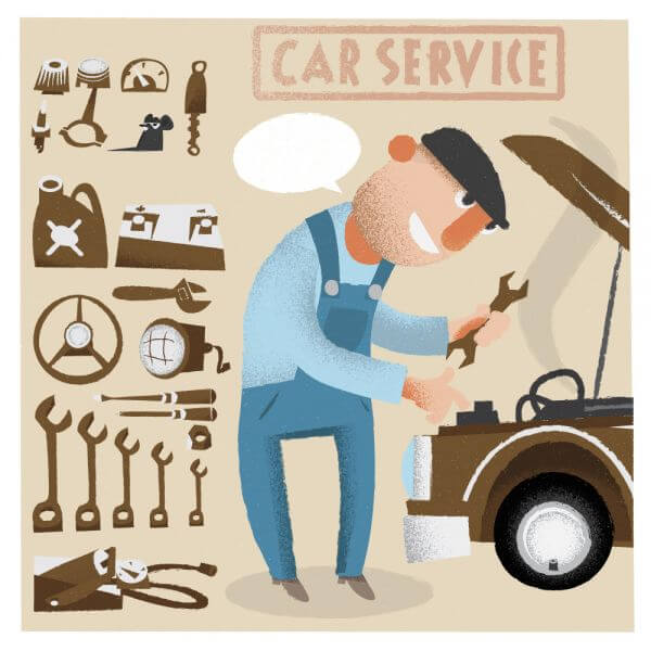 Car service man with tools. Vector illustration vector