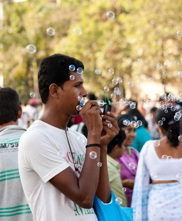 Man Blowing Bubbles photo