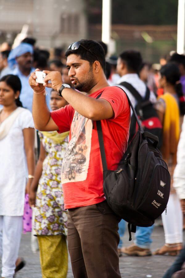 Man Shooting Mobile Camera photo
