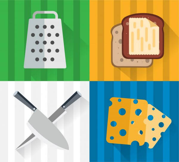 Food objects for edsign. Vector illustrations vector