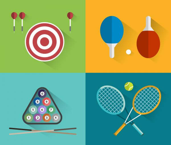 Sport objects for design. Vector illustrations.