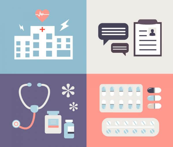 Medical objects for design. Vector illustrations vector