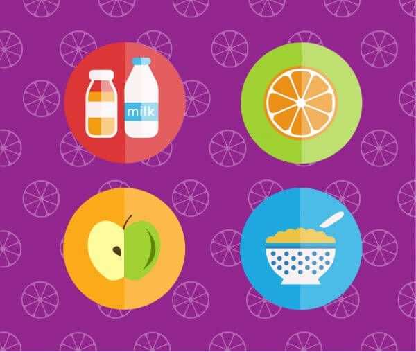 Food objects for edsign. Vector illustrations