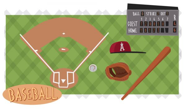 Baseball game characters and objects. Vector illustration vector